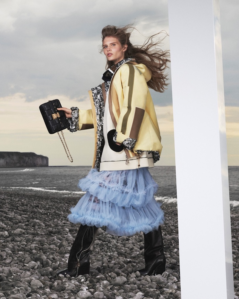 Ida Heiner strikes a pose for Louis Vuitton fall-winter 2021 campaign.