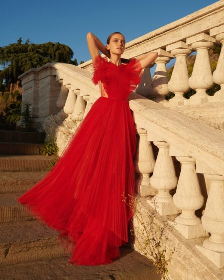 Maria Rosa Stands Out in Red Styles for ELLE Germany