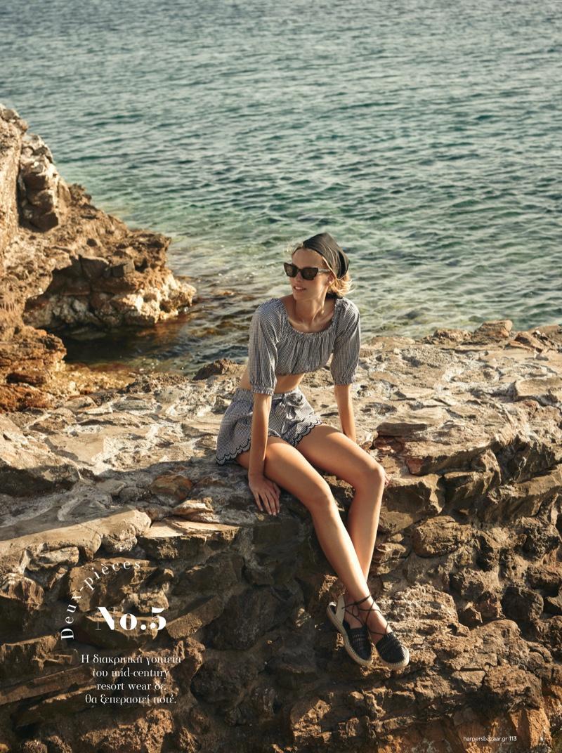 Mariina Keskitalo Wears Getaway Style for Harper's Bazaar Greece