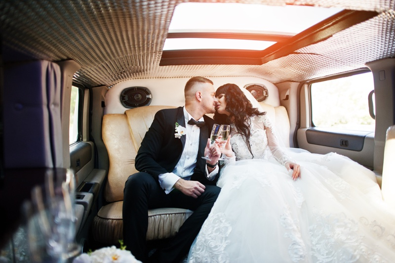 Married Couple Limo Kissing