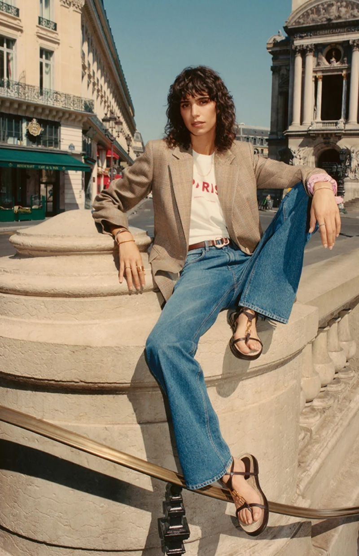 Massimo Dutti Wool Check Blazer, Paris T-Shirt, and High-Waist Wide-Leg Jeans.