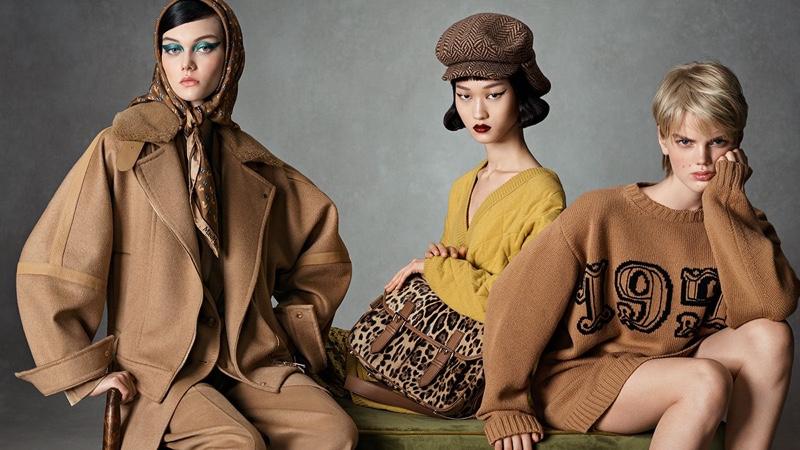 Models Steinberg, Chloe Oh, and Jits Bootsma pose for Max Mara fall-winter 2021 campaign.