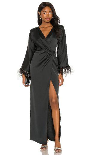 Michael Costello x REVOLVE Feather Trim Robe in Black. - size XS (also in XXS)