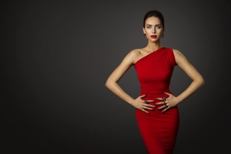 Model Red Dress One Shoulder Jewelry Elegant
