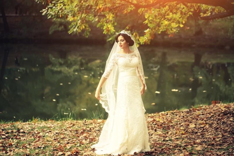 Model Wedding Dress Outdoors Lace