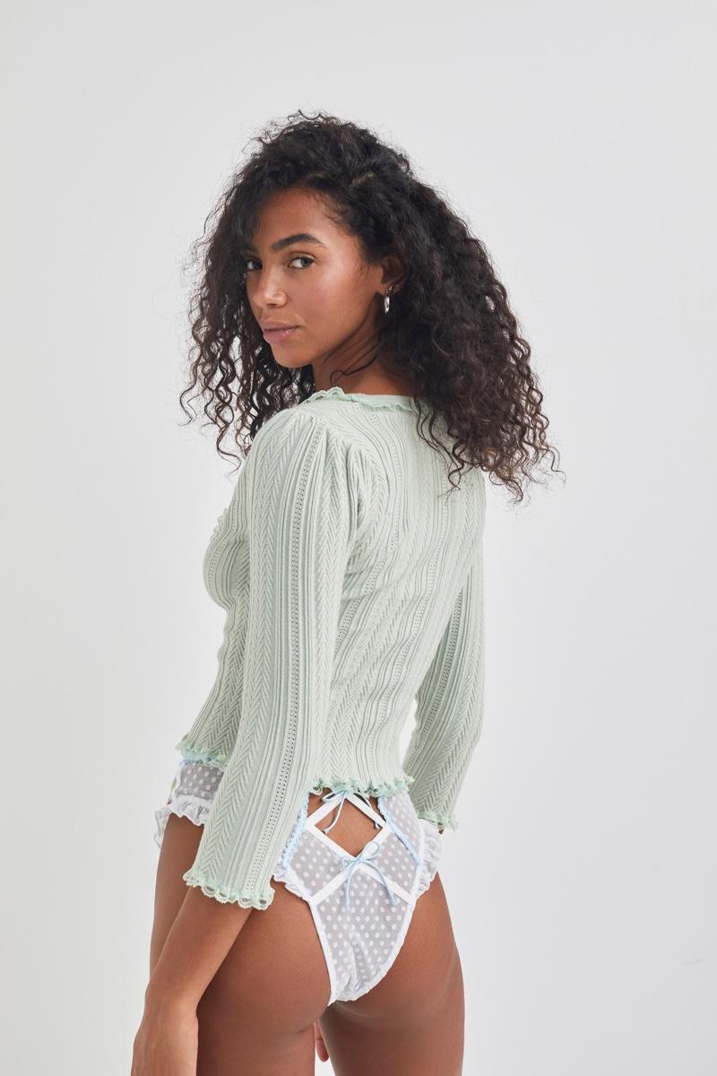 For Love & Lemons for Victoria's Secret Knit Cardigan & Midsummer Floral Hi-Waist Panty.