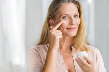 Older Mature Woman Anti-Aging Cream Skincare Face