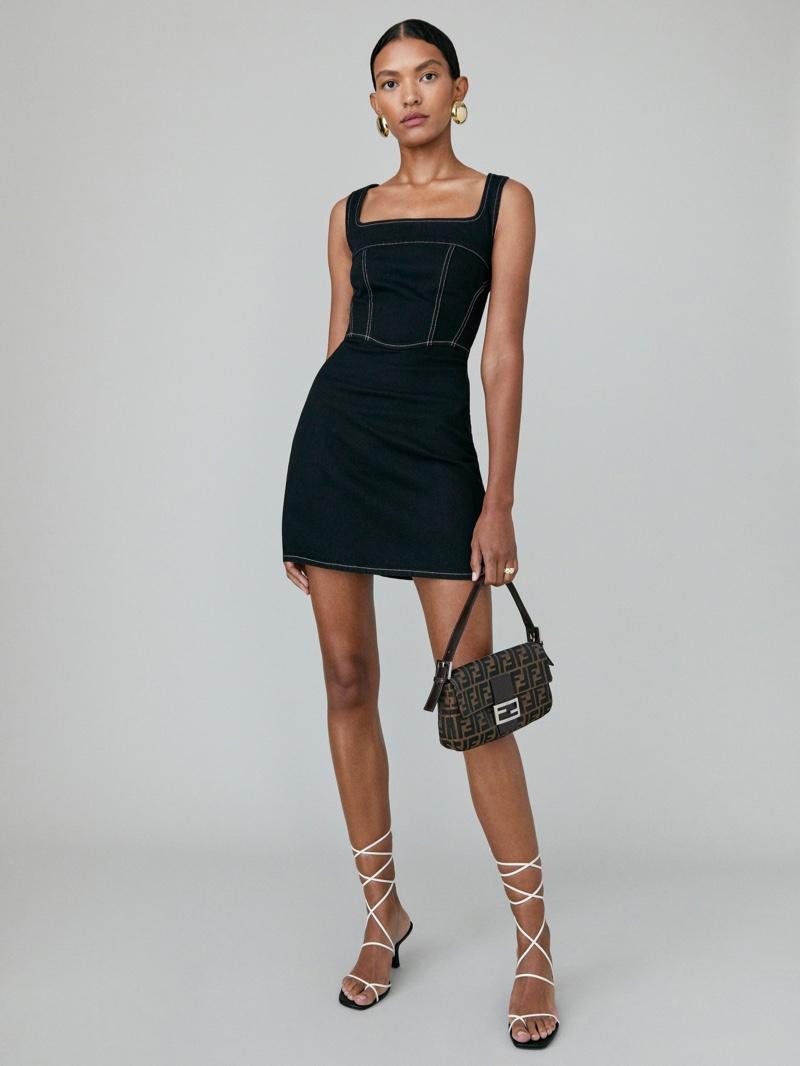 Reformation Davies Bustier Denim Mini Dress in Black $178