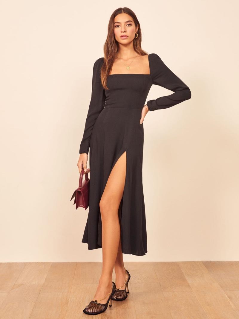 Reformation Sigmund Dress in Black $248