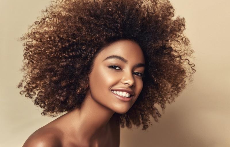 Smiling Black Model Curly Hair Teeth