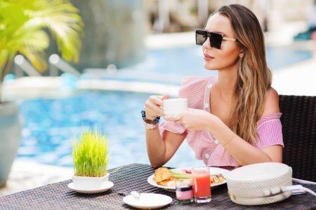 Stylish Woman Cup Table Food Sun