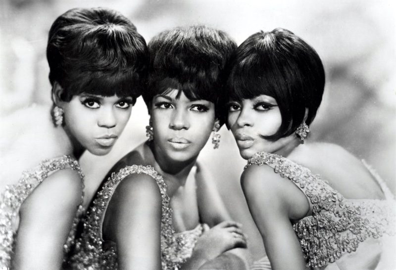 Original The Supremes lineup with Mary Wilson, Florence Ballard, and Diana Ross. The group wears glamorous hair and costumes.   Photo Credit: Pictorial Press Ltd / Alamy Stock Photo