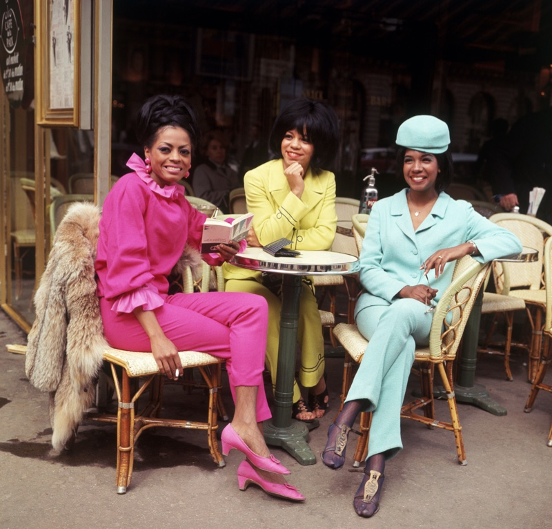 The Supremes in Paris (1966) wearing colorful outfits in pastel hues.   Photo Credit: Pictorial Press Ltd / Alamy Stock Photo