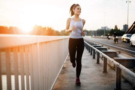 Woman Running Outside Healthy