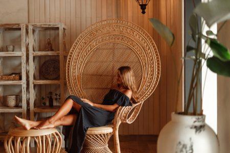 Woman Wicker Chair Boho Neutral Home Decor Interior