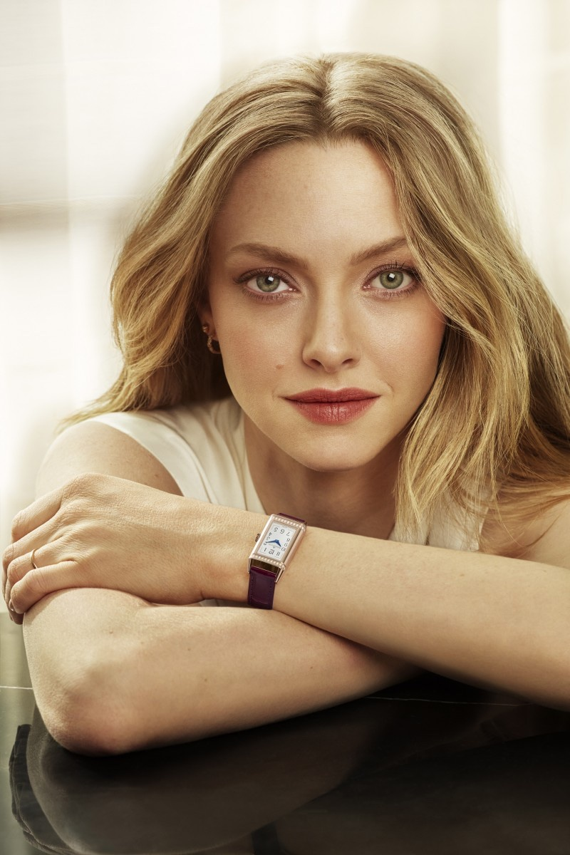 Actress Amanda Seyfried wears Jaeger-LeCoultre Reverso One Duetto Moon watch.