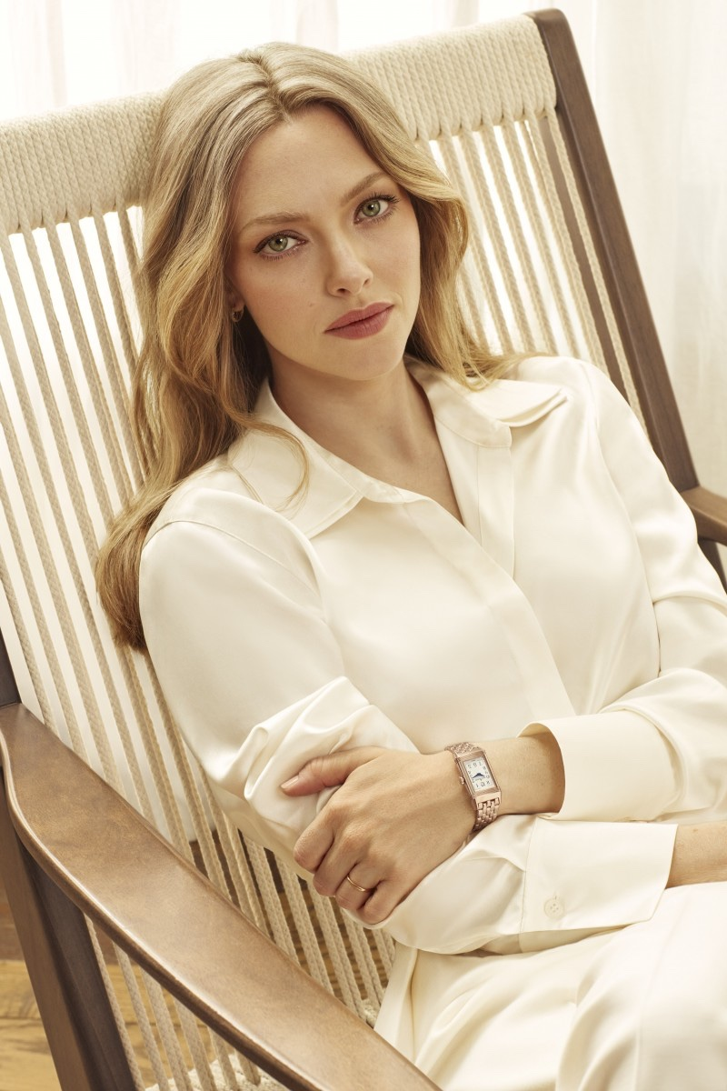 Jaeger-LeCoultre Reverso One Duetto Moon watch worn by Amanda Seyfried.