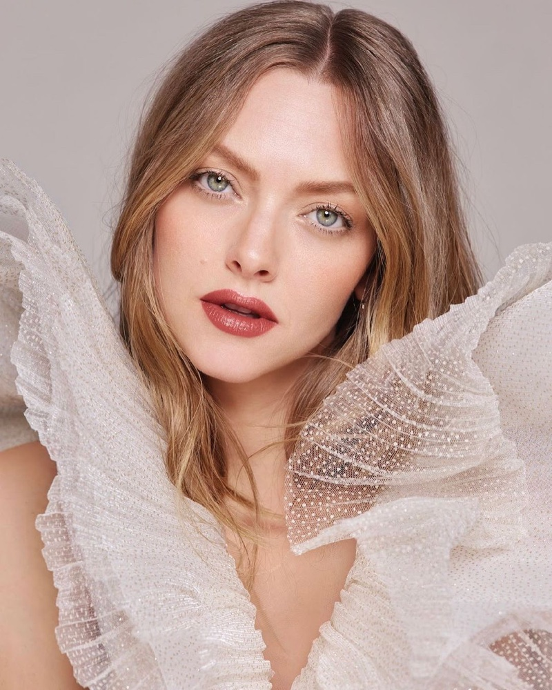 Lancome L'Absolu Rouge 2021 advertising campaign featuring actress Amanda Seyfried.