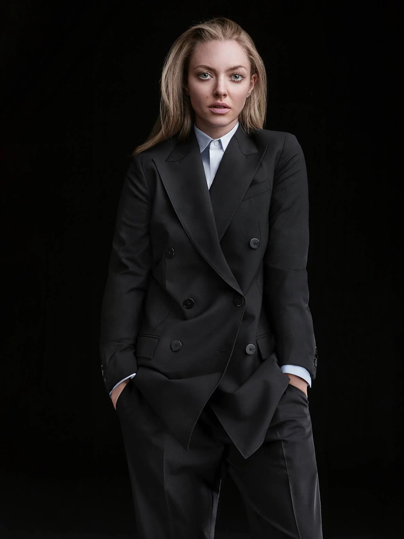 Amanda Seyfried suits up in Theory double-breasted blazer style for the brand's fall 2021 campaign.