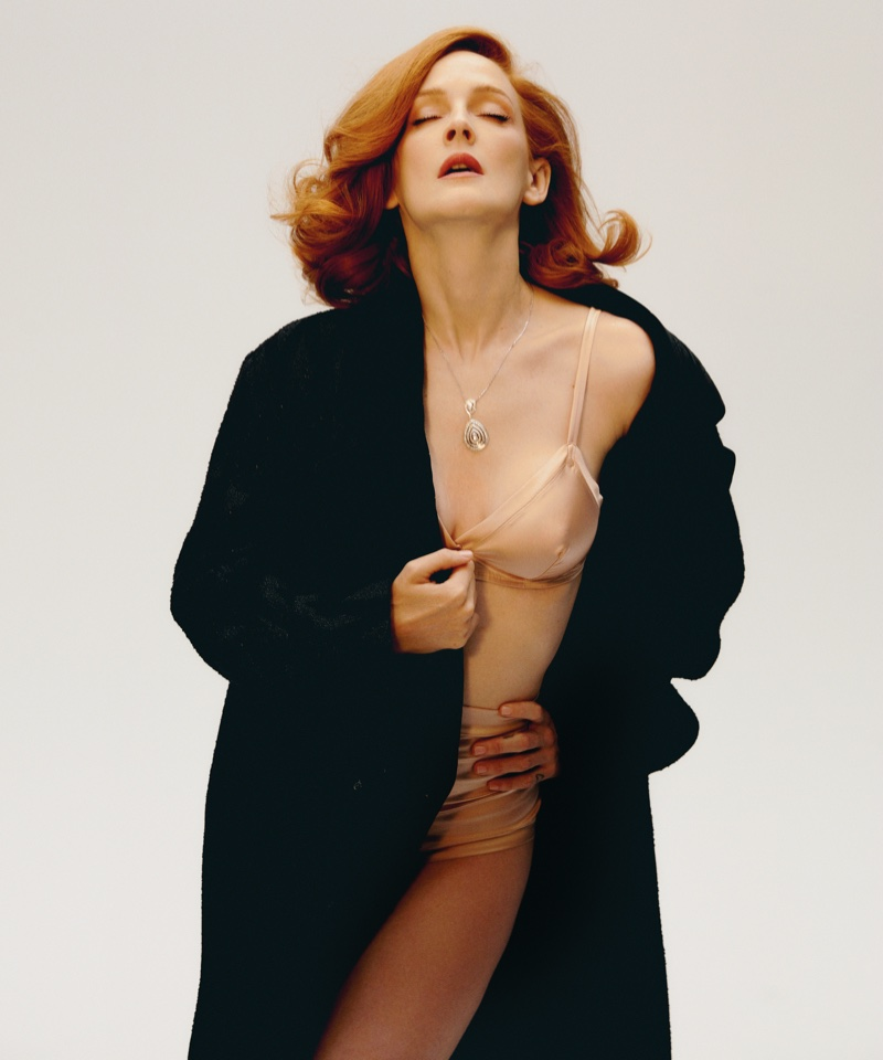 Actress Ana Polvorosa poses in Chanel coat, Eres bra and bottoms with Chaumet necklace. Photo: Javier Biosca / InStyle Spain