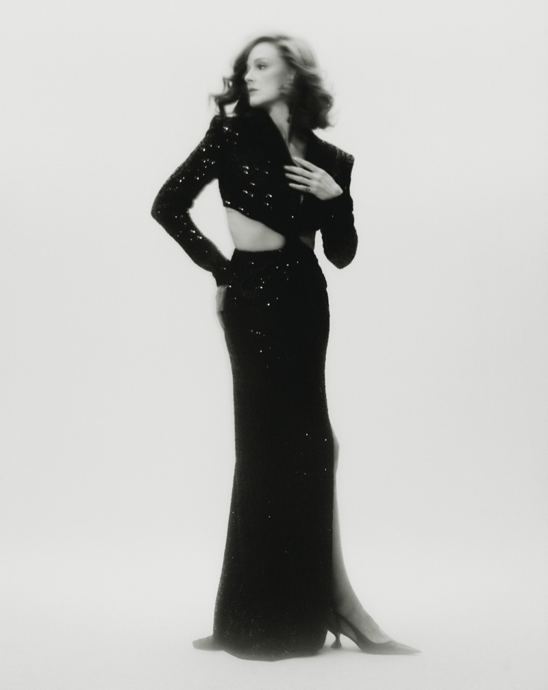 Photographed in black and white, Ana Polvorosa wears Les Hommes Femmes sequin dress. Photo: Javier Biosca / InStyle Spain