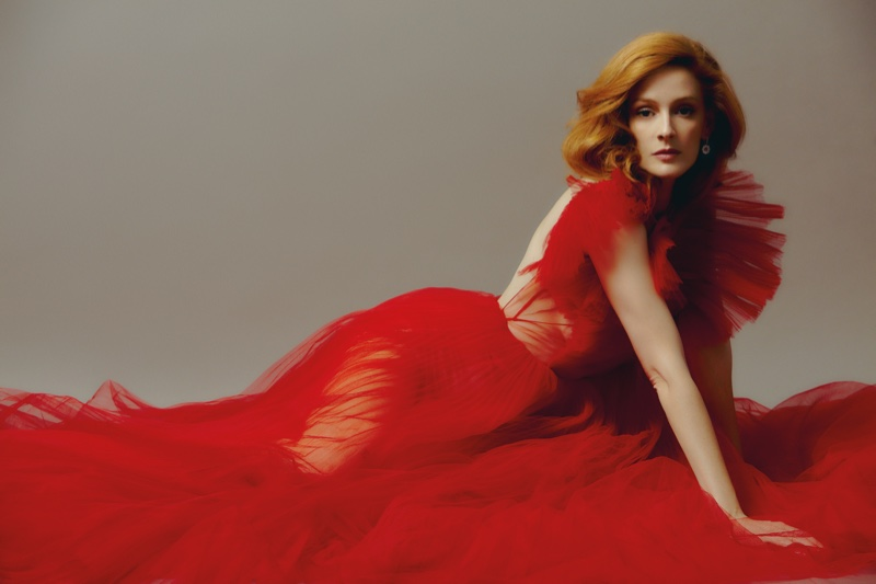 Looking red hot, Ana Polvorosa wears Dior maxi dress and Chopard earrings. Photo: Javier Biosca / InStyle Spain