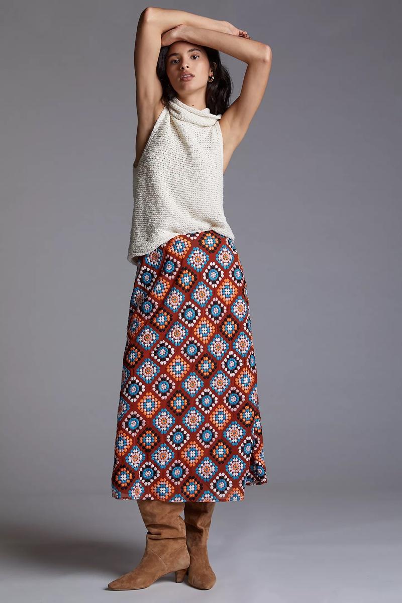 Anthropologie Embroidered Midi Skirt $180