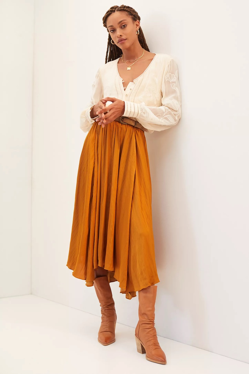 Anthropologie Sleek A-Line Midi Skirt in Gold $120