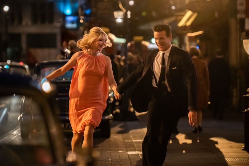 Anya Taylor-Joy as Sandie and Matt Smith as Jack wear 1960s style in LAST NIGHT IN SOHO, a Focus Features release. | Photo Credit: Parisa Taghizadeh / © 2021 Focus Features, LLC