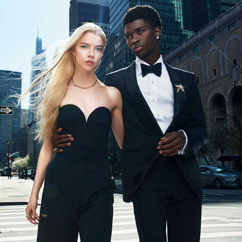 Actress Anya Taylor-Joy and model Alton Mason front Tiffany & Co. Knot Your Typical City campaign.