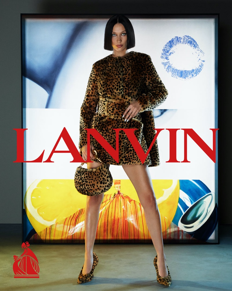 Lanvin features Bella Hadid in an animal print look for fall-winter 2021 campaign.