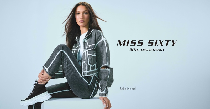 Model Bella Hadid poses for Miss Sixty fall-winter 2021