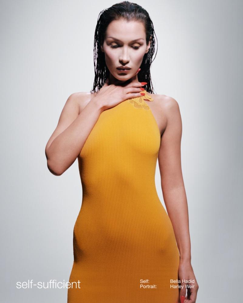 Bella Hadid wears knit dress in Self-Portrait spring-summer 2021 campaign.