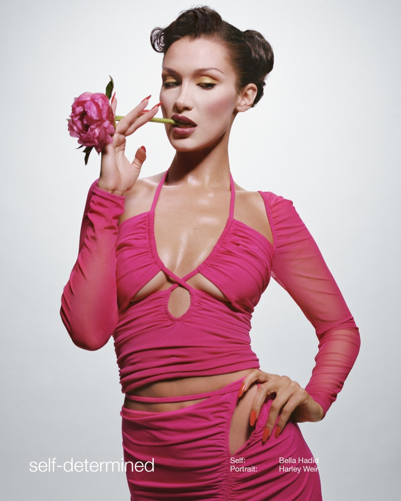 Looking pretty in pink, Bella Hadid fronts Self-Portrait spring-summer 2021 campaign.