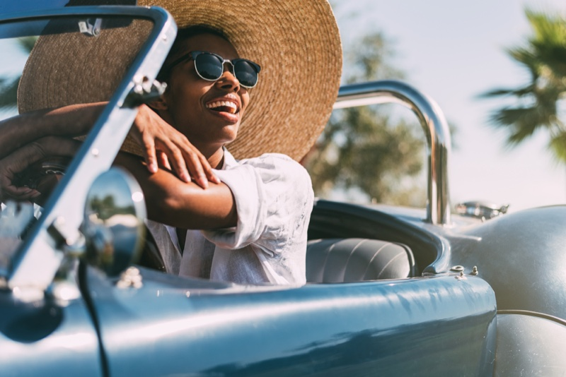 Black Woman Driving Convertible Car Sun Hat