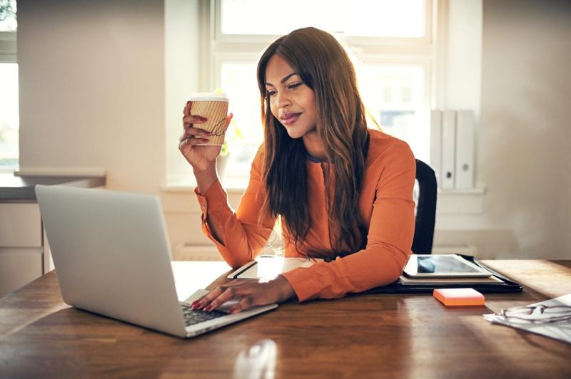 Black Woman Laptop Coffee Sunlight Work