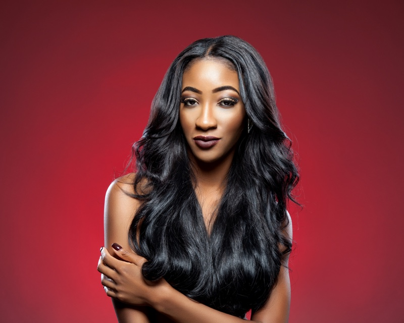 Black Woman Long Wavy Hair