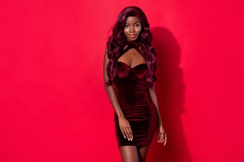 Black Woman Red Dress Magenta Wig