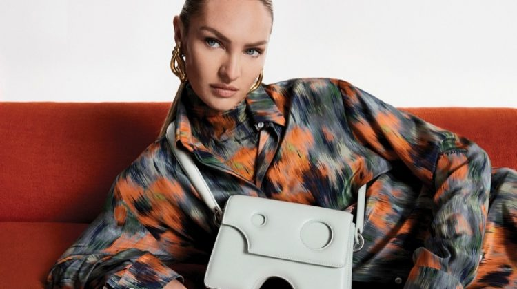 Candice Swanepoel stars in Off-White Burrow Bag fall-winter 2021 campaign.