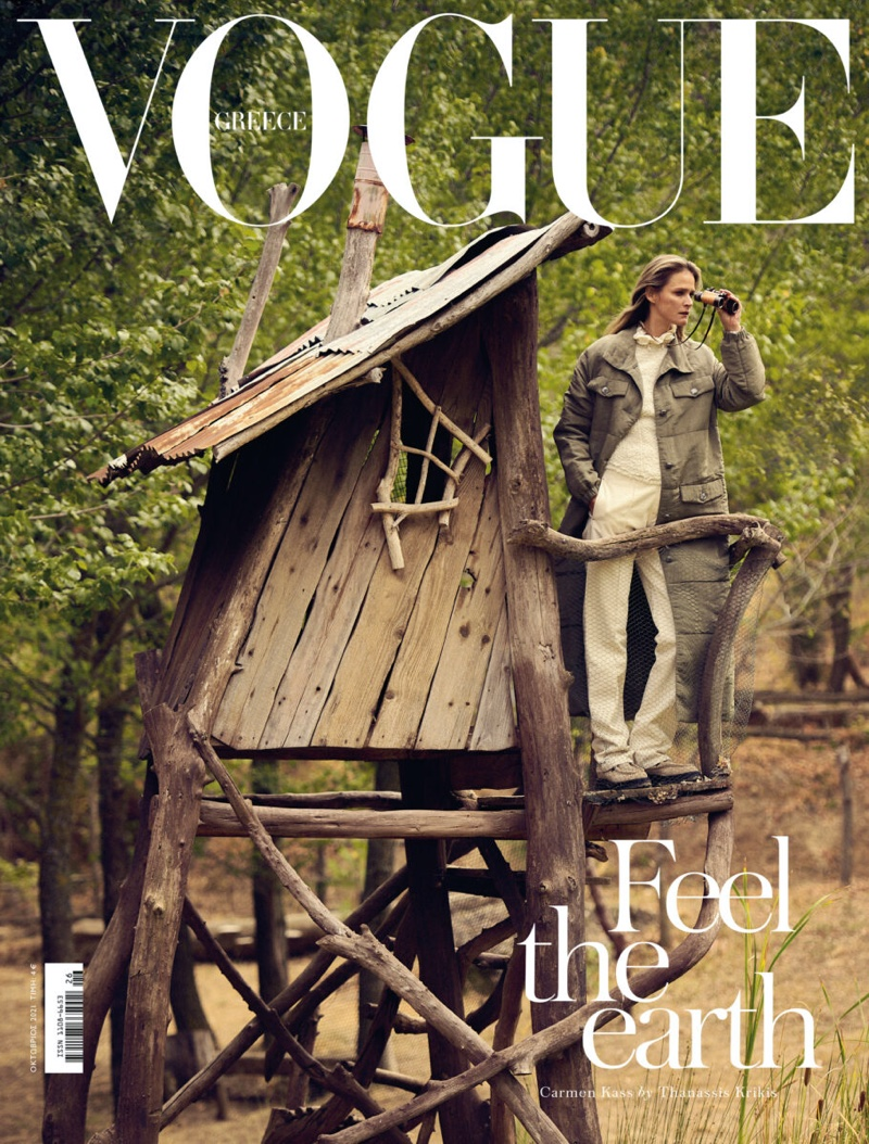 Carmen Kass on Vogue Greece October 2021 Cover.