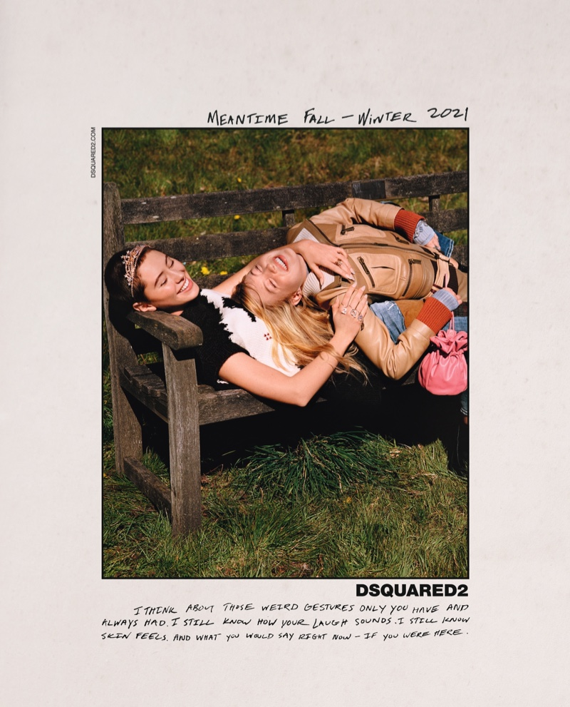 Iris Law and Lila Moss share a laugh in DSquared2 fall-winter 2021 campaign.