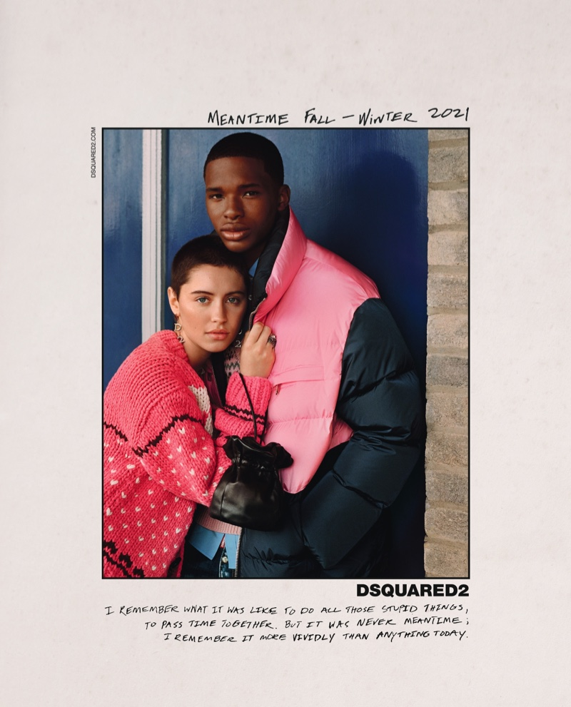 Iris Law poses with AJ for DSquared2 fall-winter 2021 campaign.