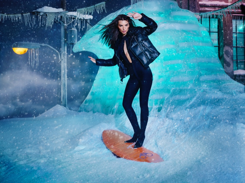 Surfing in snow, Emily Ratajkowski fronts Moose Knuckles fall-winter 2021 campaign. Photo: David LaChapelle