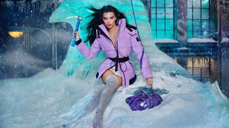 Emily Ratajkowski stars in Moose Knuckles fall-winter 2021 campaign. Photo: David LaChapelle
