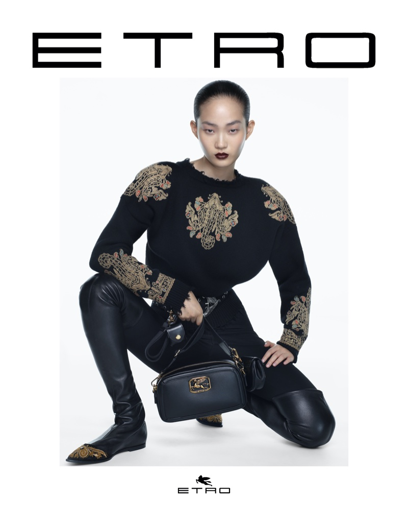 Hyunji Shin fronts Etro fall-winter 2021 campaign.