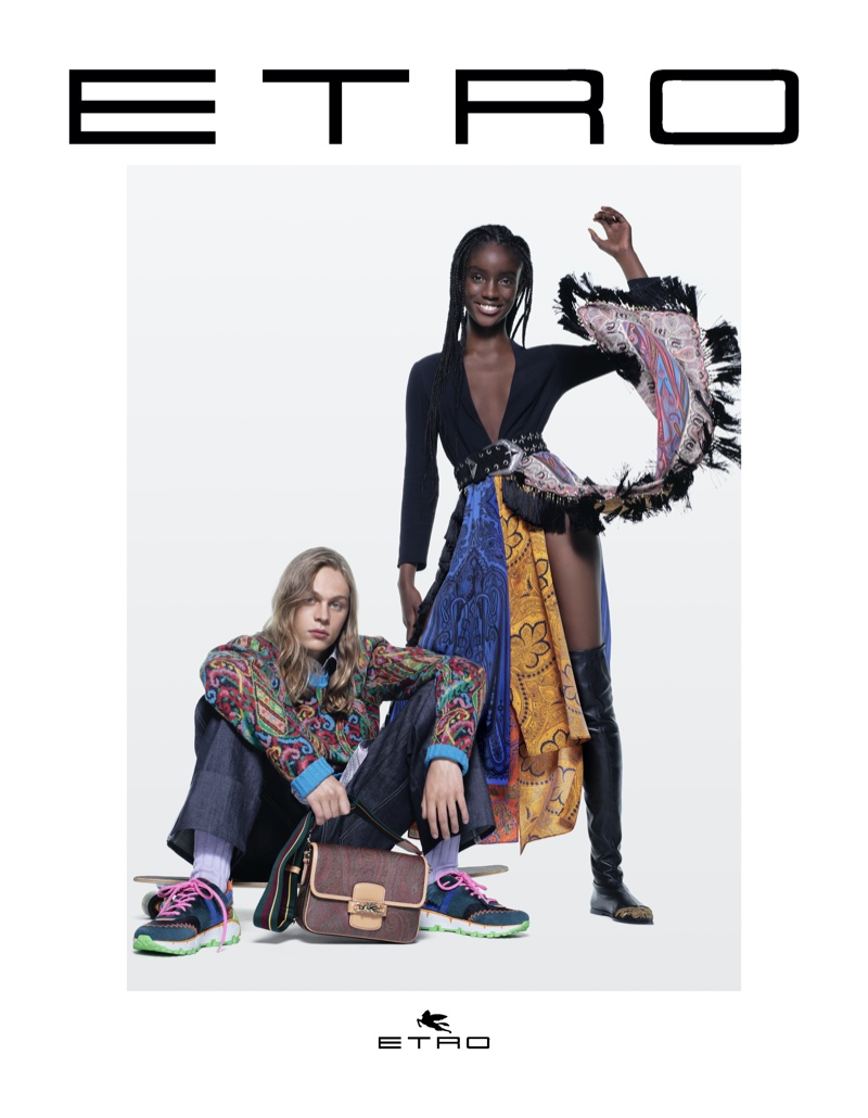 Sonny Charlton and Maty Fall Diba star in Etro fall-winter 2021 campaign.