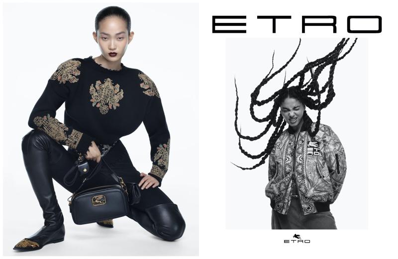 Hyunji Shin and Sharon Alexie front Etro fall-winter 2021 campaign.