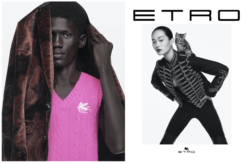 Moustapha Sy and Hyunji Shin pose for Etro fall-winter 2021 campaign.