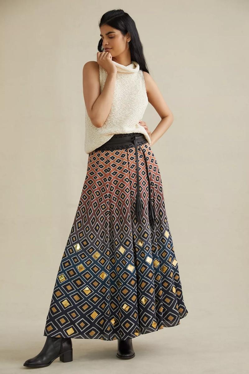 Geisha Designs Diamond Maxi Skirt $210
