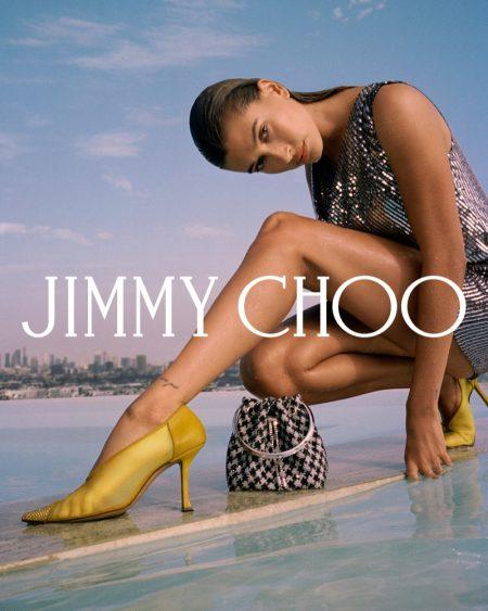 Hailey Bieber flaunts some leg in Jimmy Choo fall 2021 campaign.